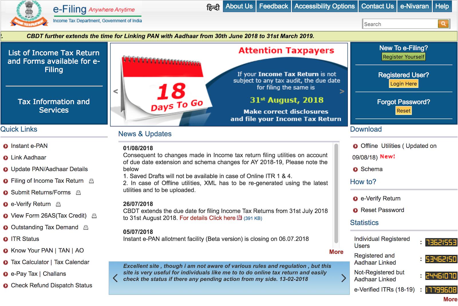 Income Tax e-Filing Portal Homepage