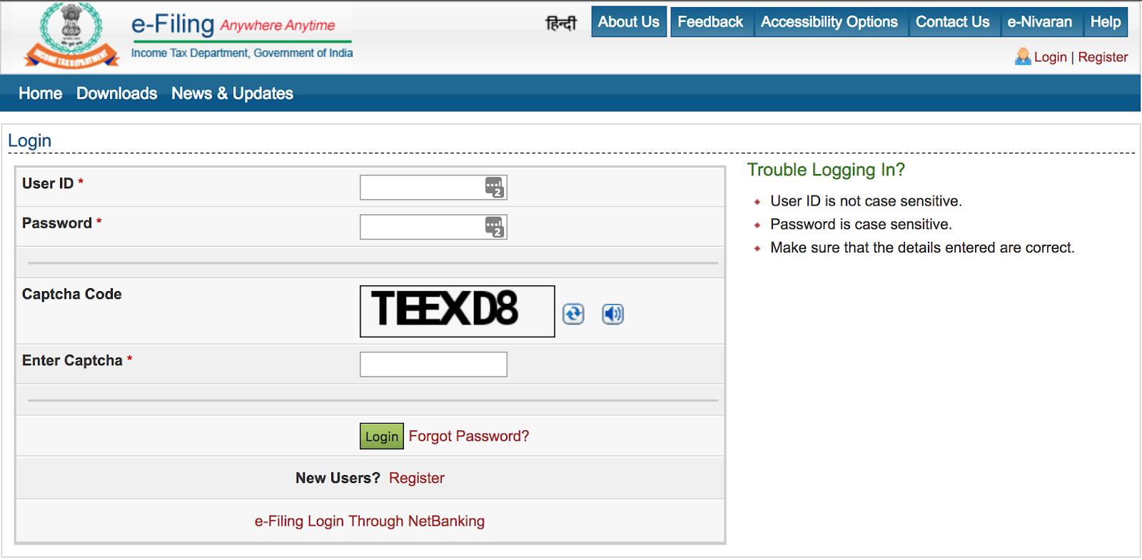 Income Tax e-Filing Portal - Login Page
