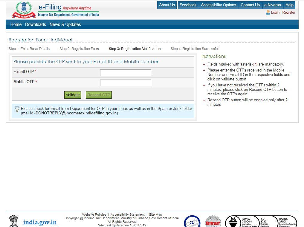 Income Tax e-Filing Website - Validate Registration Process