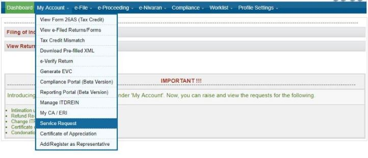 Income Tax e-Filing Website - Service Request Option