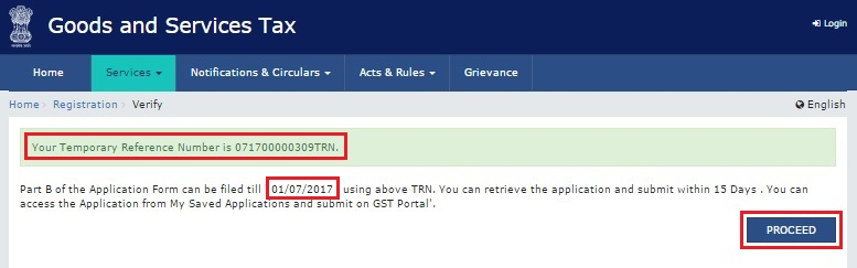 GST Portal - TRN number