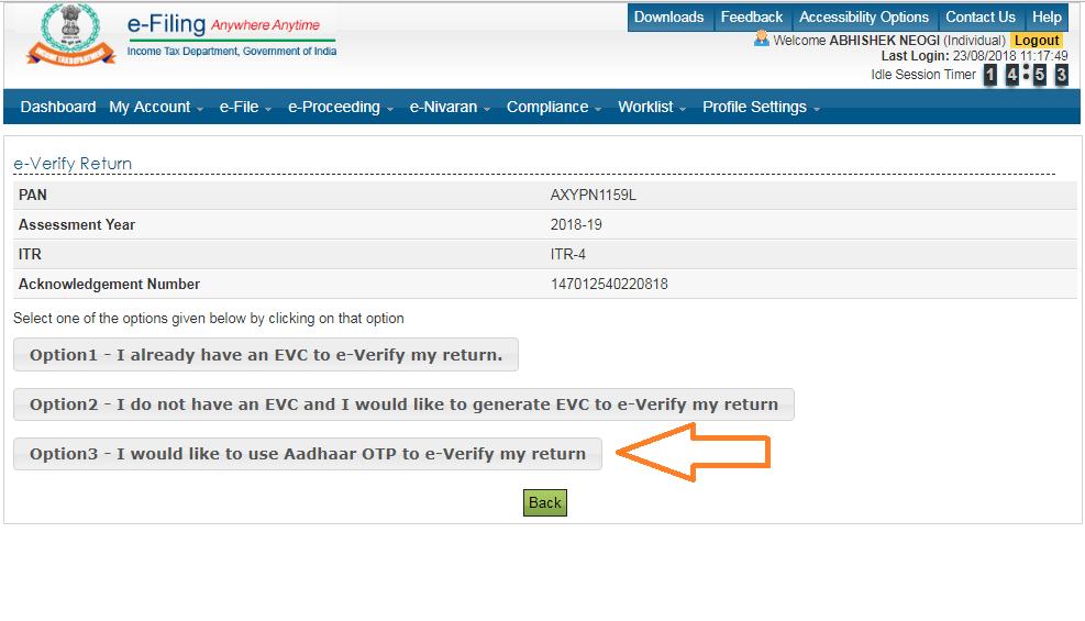 Income tax e filing portal Aadhaar-OTP