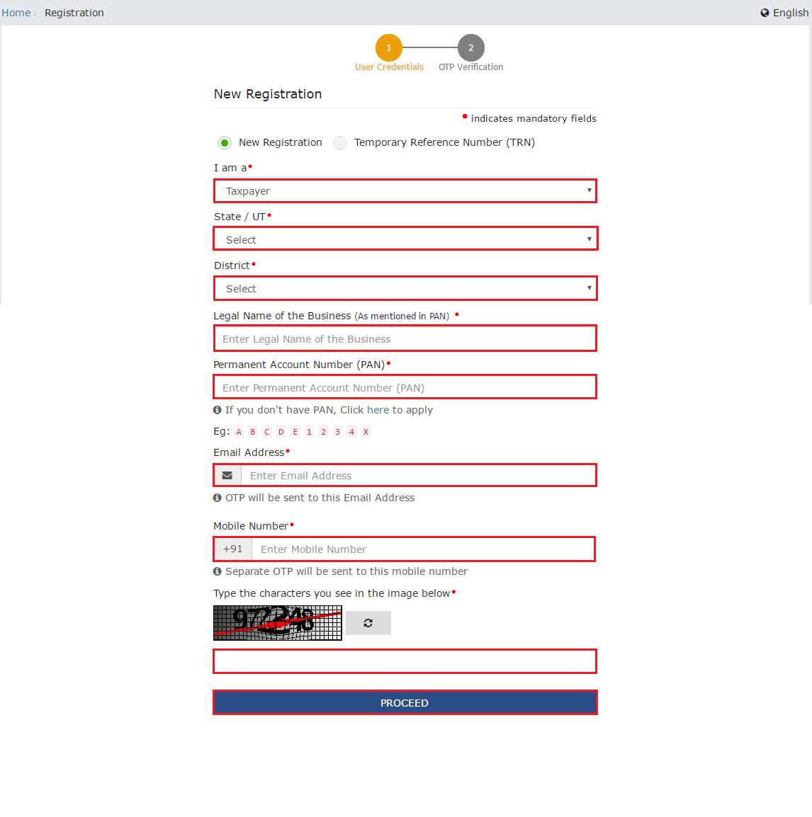 GST Portal - Select Taxpayer Option