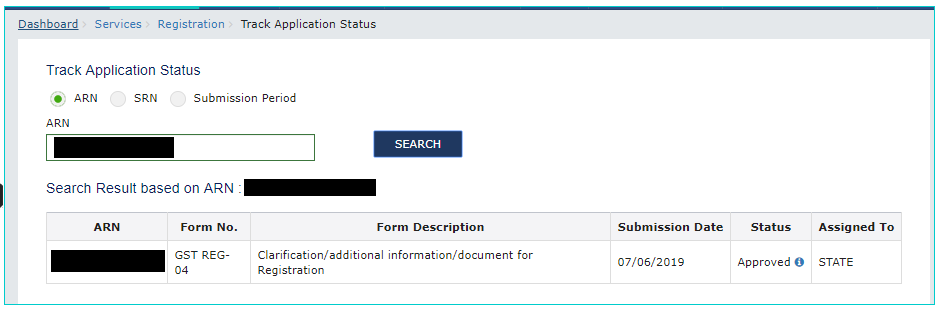 GST Portal Post Login Application Status using ARN