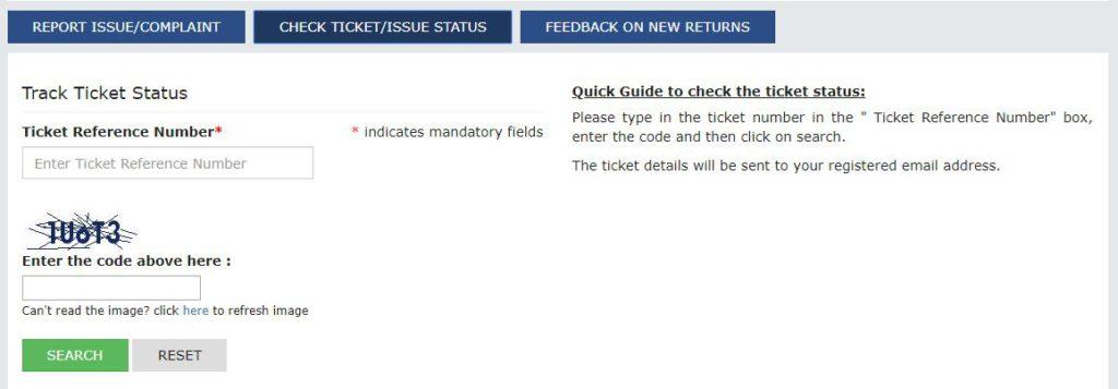 Grievance Redressal Portal -Enter Ticket Reference Number (TRN)