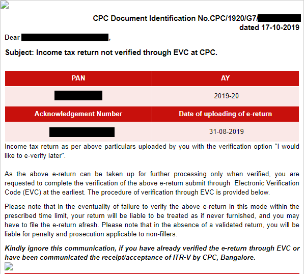 Non-Submission of ITR-V - E-verification pending
