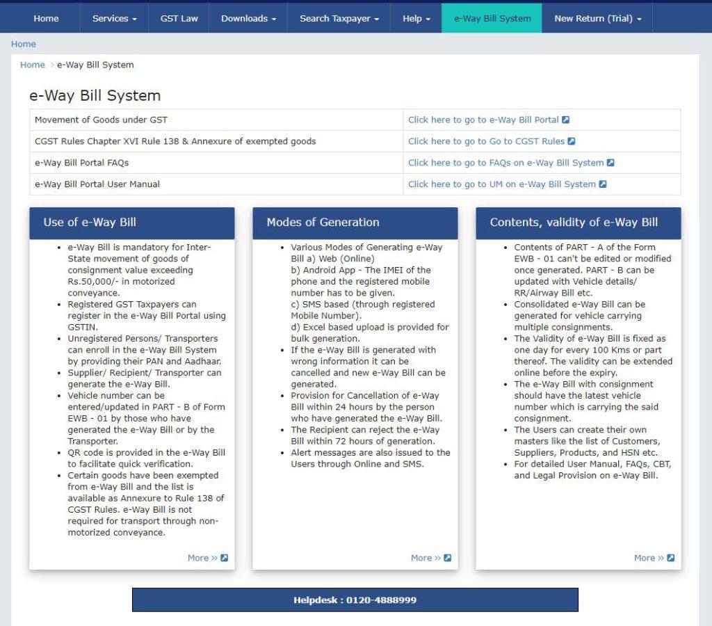 GST Portal - E-Way Bill System