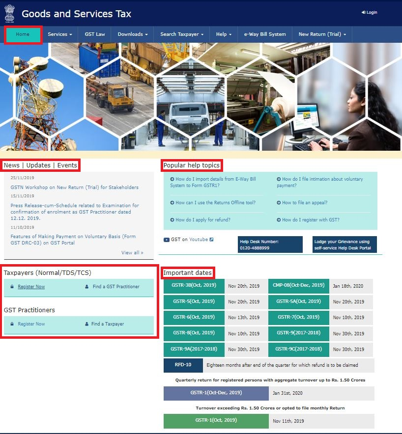 GST Portal - Home Page