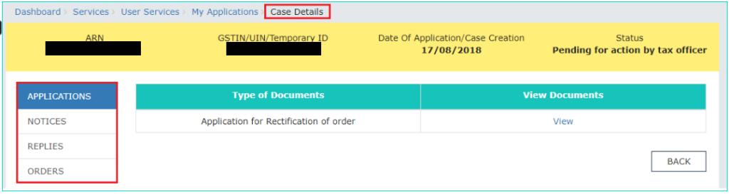 GST Portal - Case Details