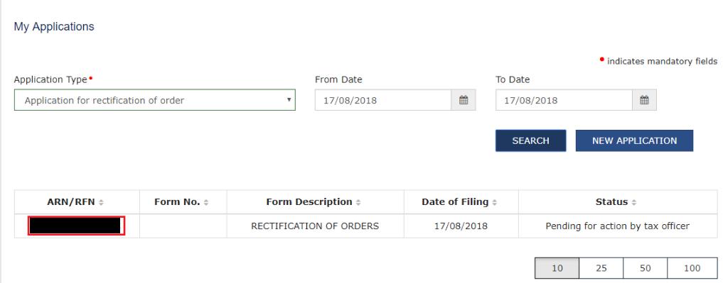 GST Portal - List of Applications