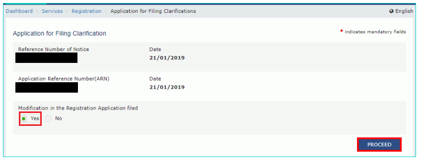 GST Portal - Modification in Application Registration Field