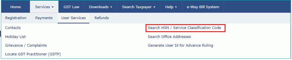 GST Portal - Navigation to HSN-SAC Code
