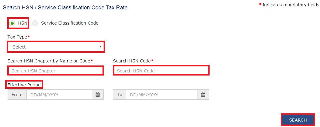 GST Portal - Search HSN Tax Rates
