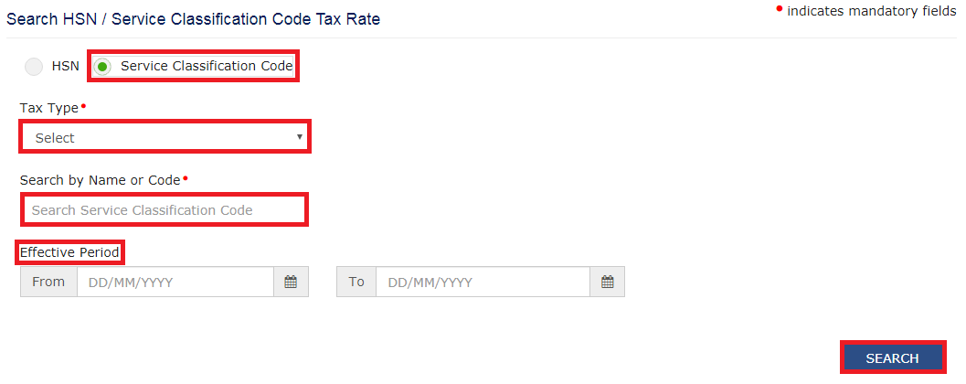 GST Portal - Search SAC Tax Rates