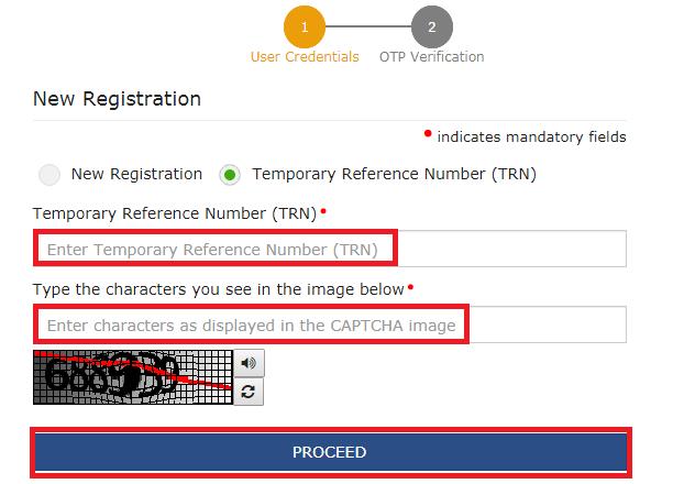 GST Registration - User Credentials Page