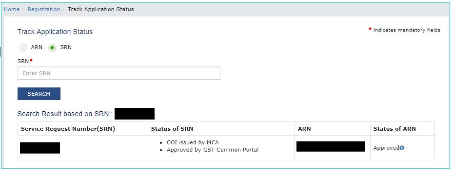 GST Portal Application Status Details