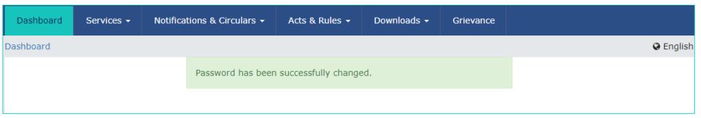 GST Login - Password Change Confirmation