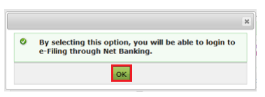 e-Vault - Confirmation Message for Net-Banking