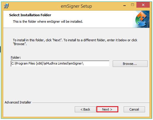 emSigner Application Folder