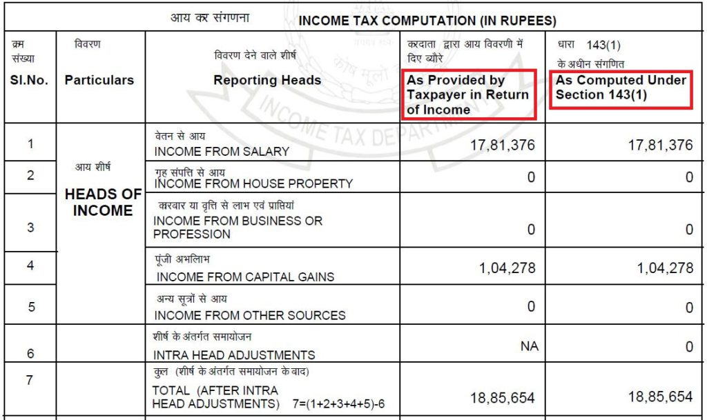 Intimation 143(1) - ITR v/s IT department