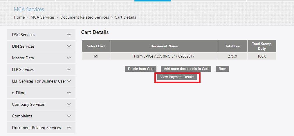 MCA Portal Get Certified Copies - View Payment Details