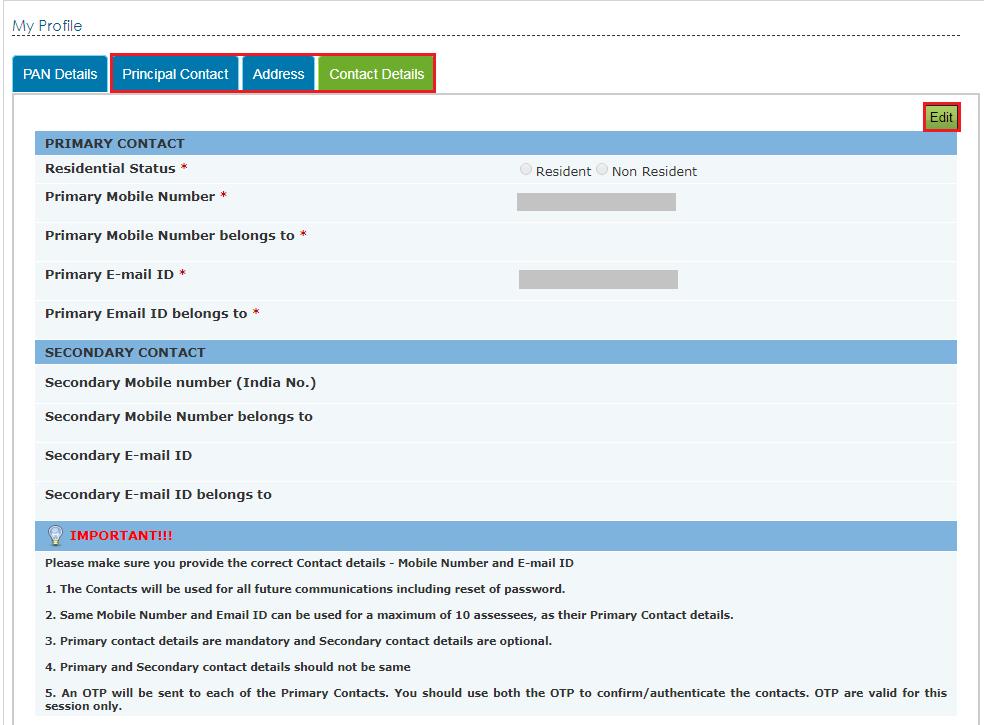 Income Tax e-Filing Platform - Contact Details