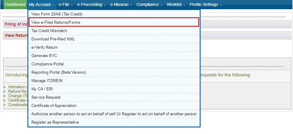 Income Tax e-Filing Platform - Dashboard