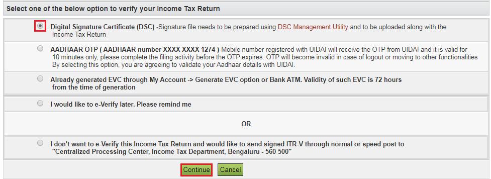 DSC Option to e-Verify ITR