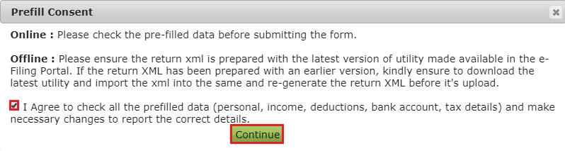 Income Tax e-Filing Portal - Prefill Consent Message