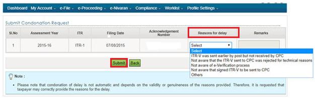 Income Tax e-Filing Portal - Submit Condonation Request Page