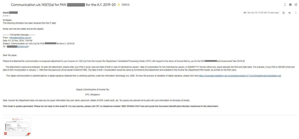 Intimation 143(1)(a) - Email Communication
