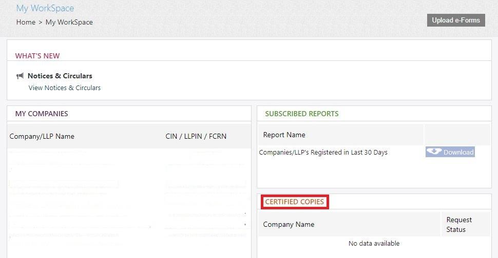 MCA Portal Get Certified Copies - My Workspace