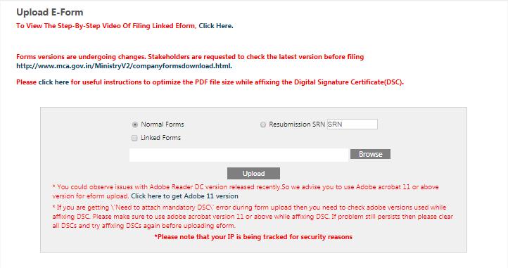 MCA Portal - Upload e-Form
