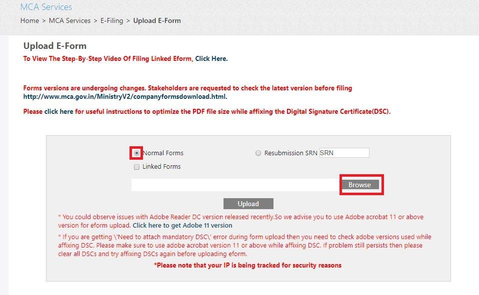 MCA Portal Upload eForm - select normal forms