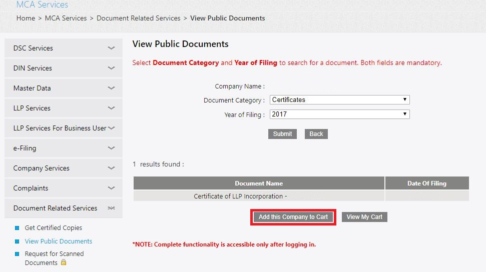 MCA Portal View Public Documents - Add documents to cart