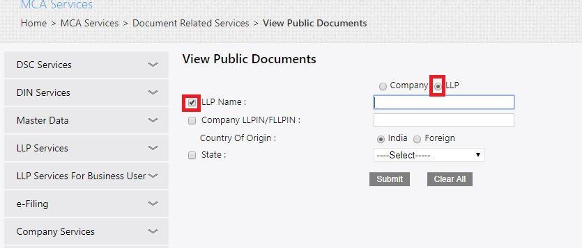 MCA Portal View Public Documents - Select Search Criteria LLP