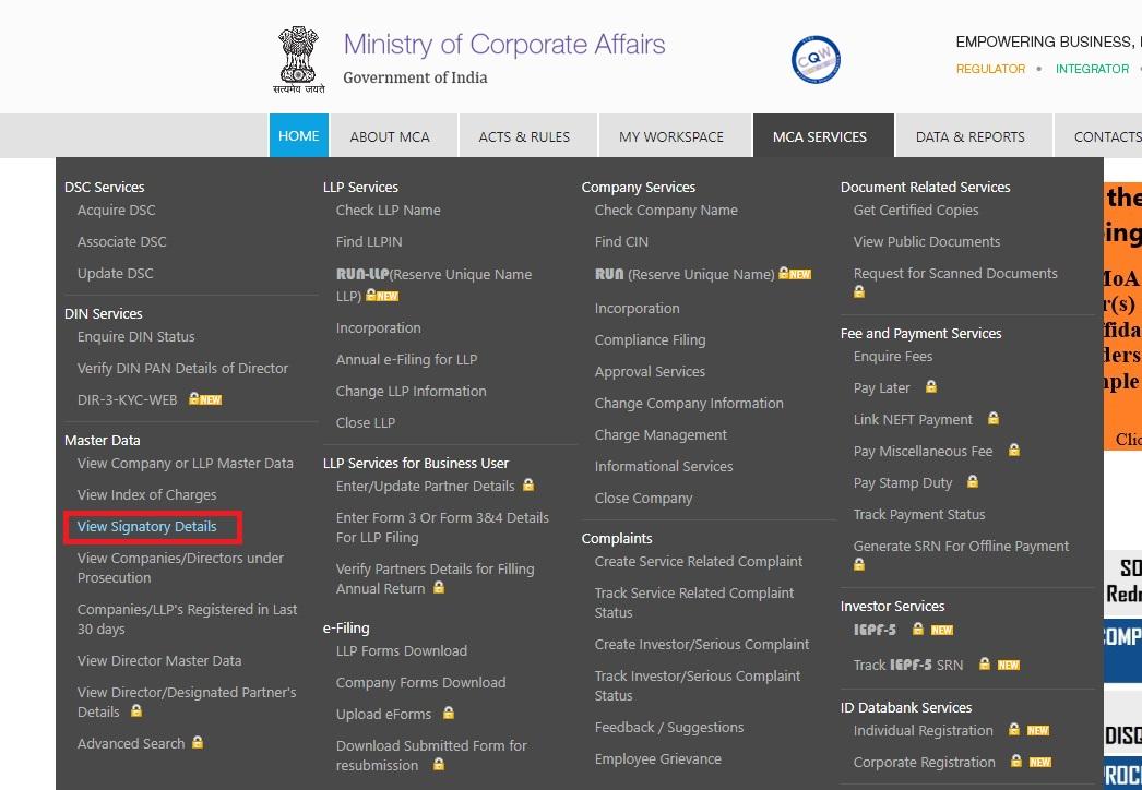 MCA Portal - MCA Services Dashboard