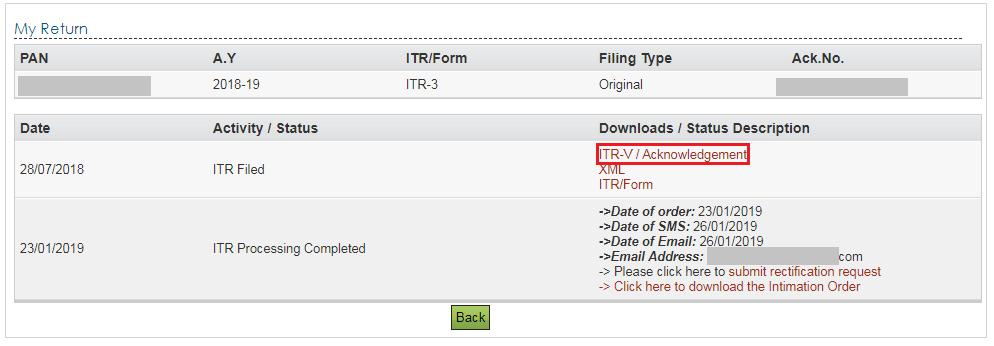 Link to Download ITR-V Acknowledgement Form
