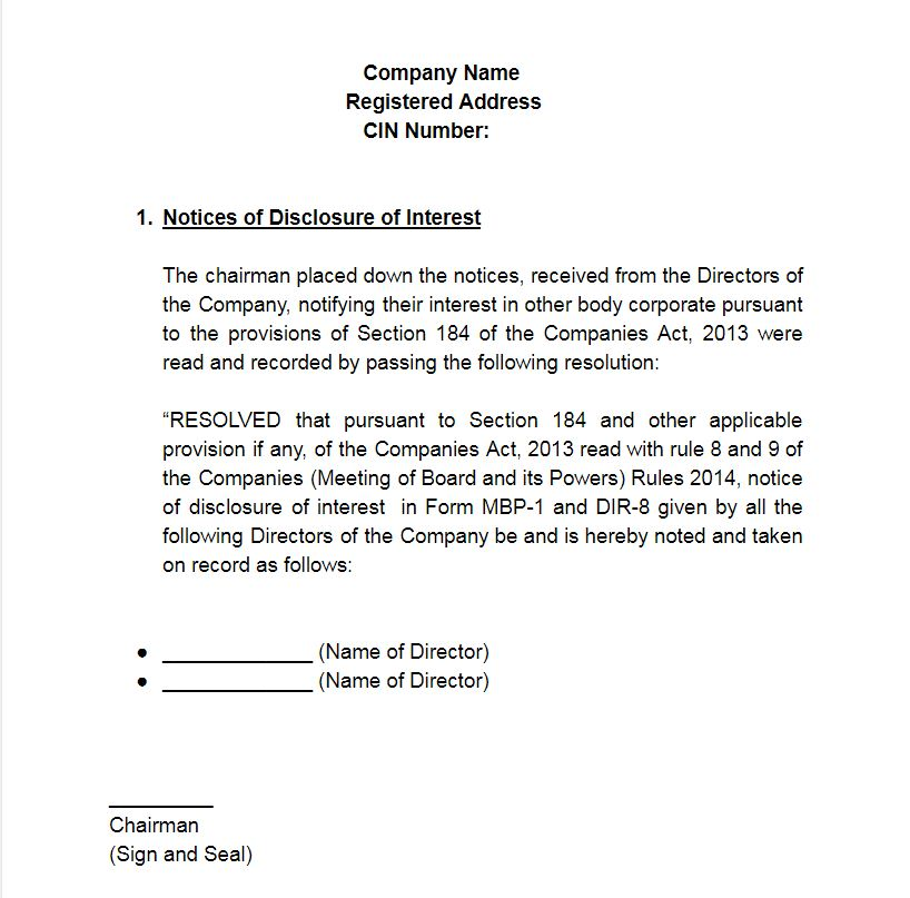 Resolution for Notice of Disclosure of Interest
