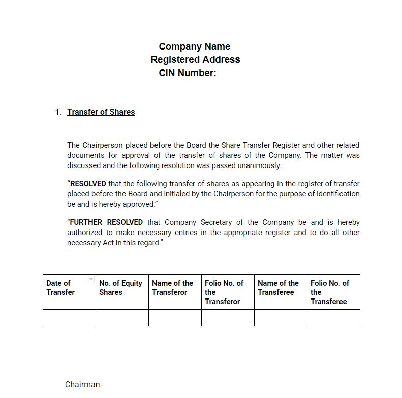 Sample: Meeting Minutes - Share Transfer