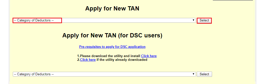 Application for TAN - Select Category of Deductors