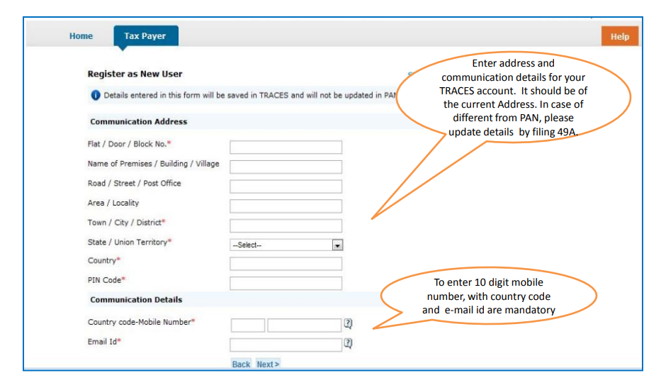 Complete NRI Taxpayer Registration Process by entering Required details