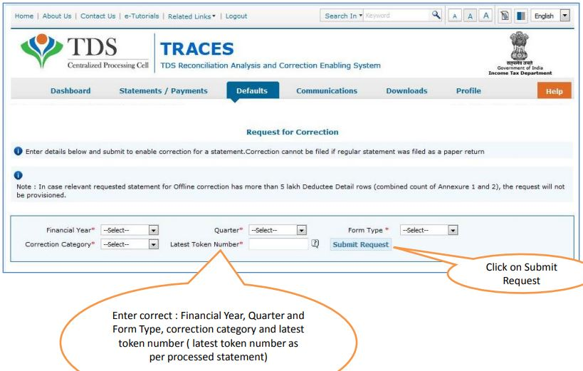 TRACES - Request for PAN Correction - Financial Year, Quarter, Form Type, Token Number