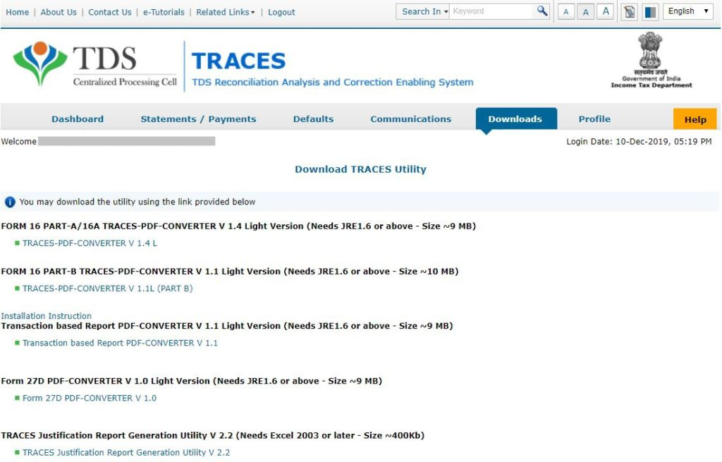 TRACES - TRACES Utility List
