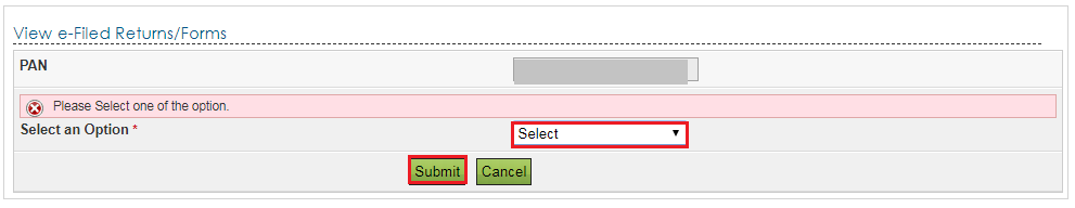 View e-Filed Returns and Forms Page