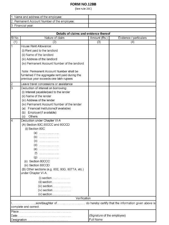 Sample Form 12BB Investment Declaration