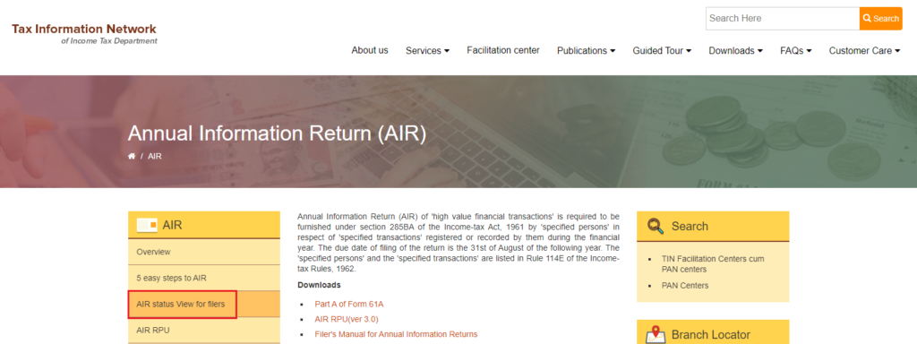 AIR status view for filers - Form 61A