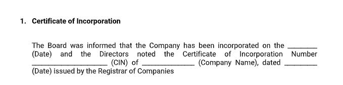 Board Meeetings - Certificate of Incorporation