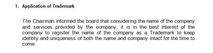 Board Meeting - Application of Trademark