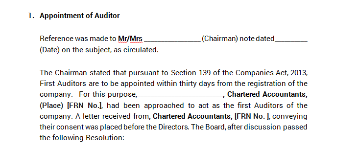 Board Meeting - Appointment of Auditor